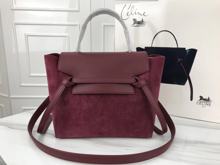 Celine mini Belt Bag Suede Leather A98310 wine