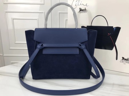 Celine mini Belt Bag Suede Leather A98310 Dark blue