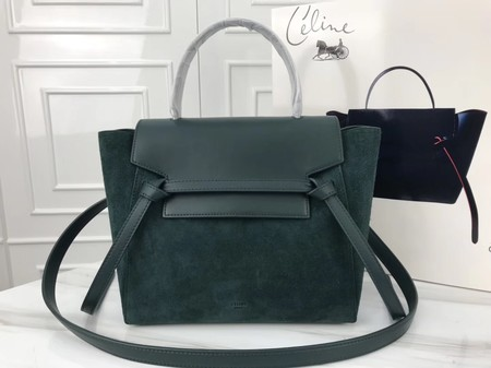 Celine mini Belt Bag Suede Leather A98310 green