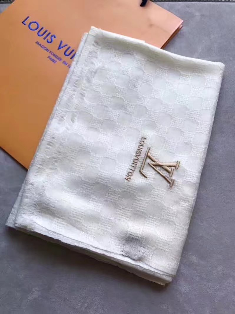 louis vuitton Cashmere scarf LV9223 white