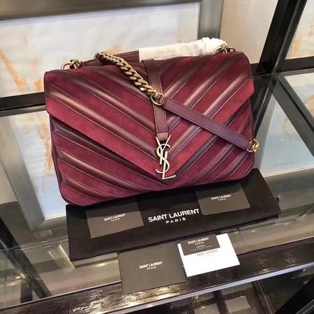 6981d21149 YSL Classic Calfskin Leather Flap Bag 2801 Wine