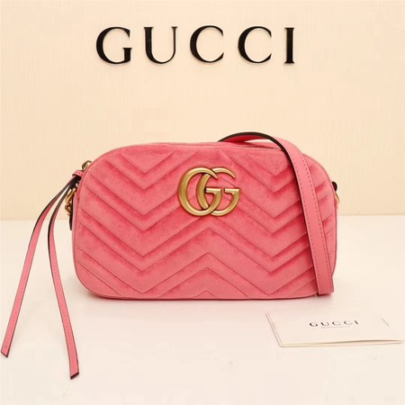 Gucci GG Marmont Velvet leather Shoulder Bag 447632 pink
