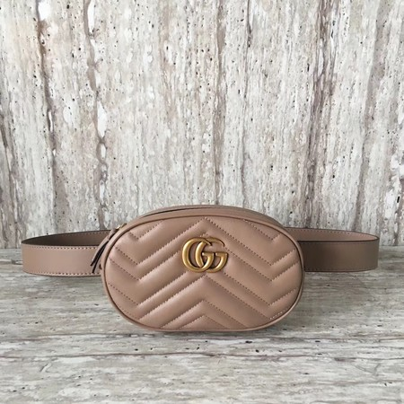 Gucci Marmont matelasse leather belt bag 476434 Apricot