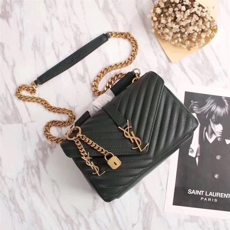 YSL Flap Bag Calfskin Leather 26611 green