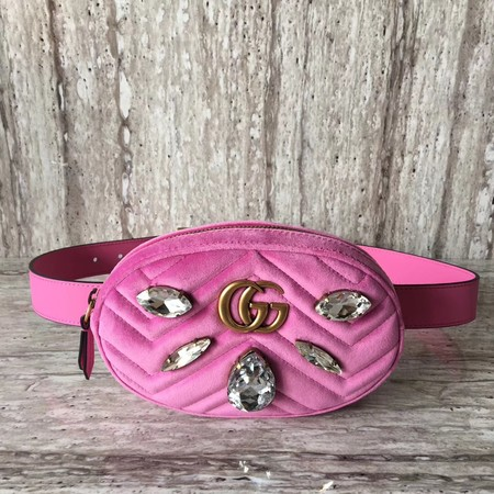 Gucci Marmont matelasse Velvet leather belt bag B476434 pink