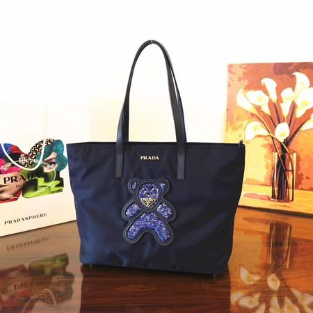 1bf1b5e294 Prada Nylon cloth casual bag 1BG052 dark blue