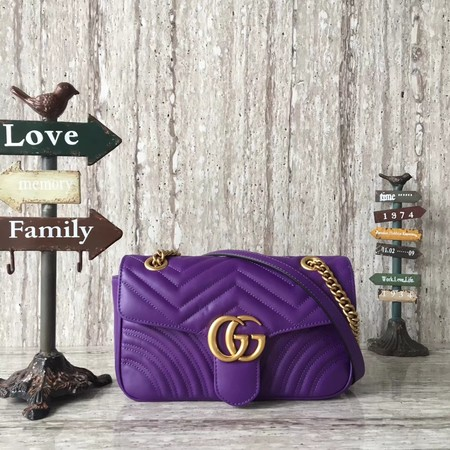 Gucci GG Marmont Small Chevron Shoulder Bag 443497  purple