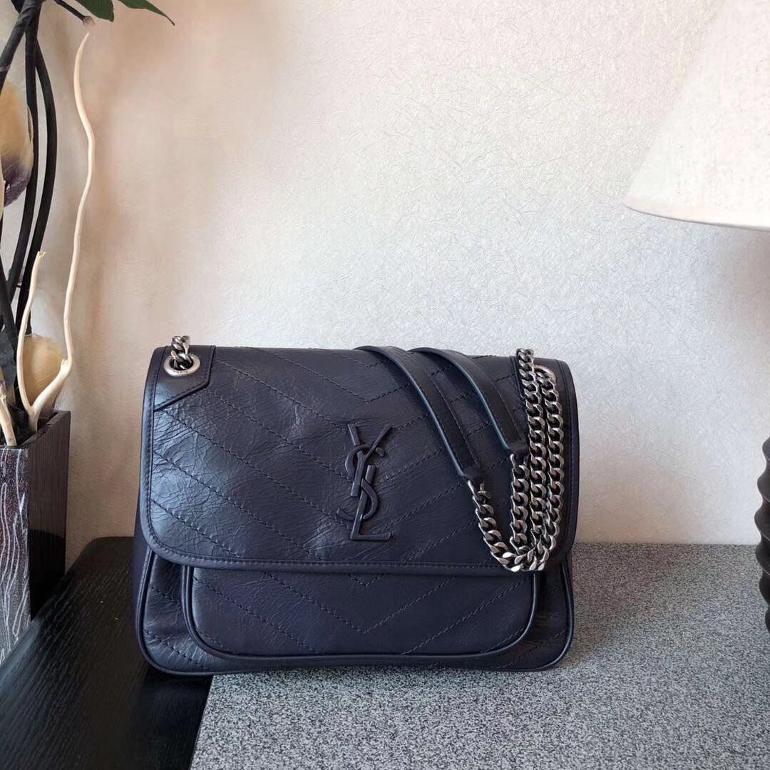 Saint Laurent Classic Calf leather Flap Bag 498894 dark blue