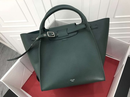 Celine the big bag calf leather Tote Bag 183313 Blackish green