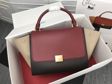 Celine Trapeze Bag Original Leather 3342 Red black cream