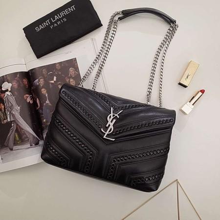 5e93d09606 Saint Laurent Loulou Monogram Small Flap Black Studded Chain Shoulder Bag  464676