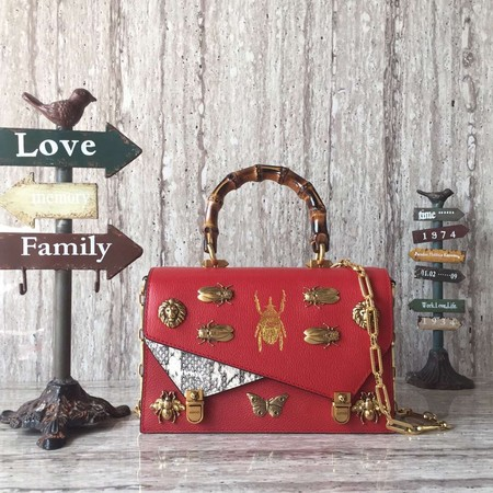 Gucci GG original ottilia leather small top handle bag 488715 red