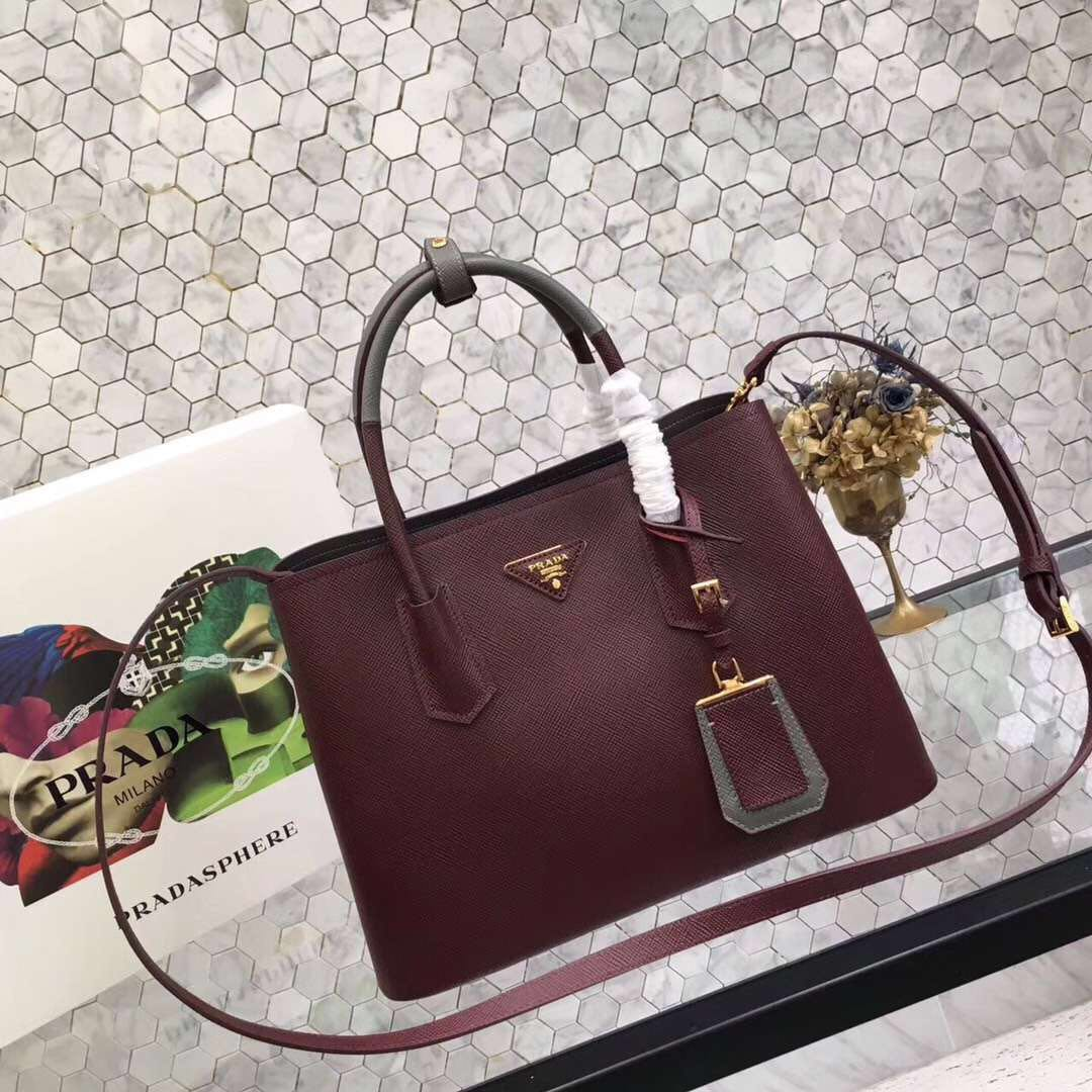 22d6c0c05f Prada Saffiano Cuir Original Leather Tote Bag bn2755 burgundy gray