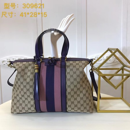 Gucci GG Canvas Top Handle Bags 309621 purple