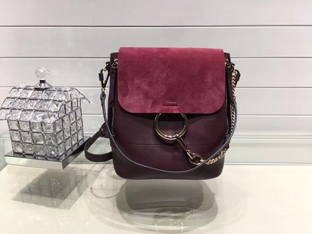 Chloe Faye original suede leather Backpack C4756 wine