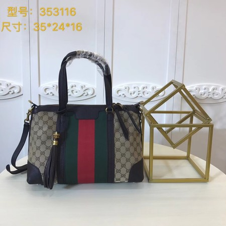 Gucci GG Canvas Top Handle Bags 353116 Chocolates