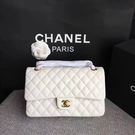 Chanel Flap Original sheepskin Leather Shoulder Bag CF 1112 white gold chain