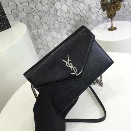 ysl small kate satchel original Calf leather 2822 black silver chain
