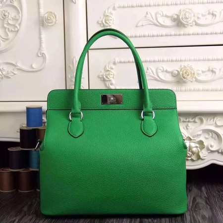 Hermes original leather toolbox handbag 3069 green