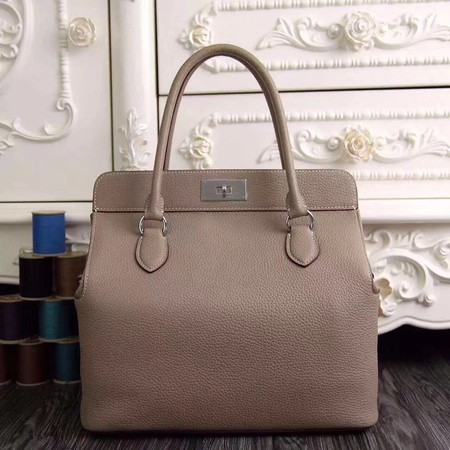 Hermes original leather toolbox handbag 3069 light gray