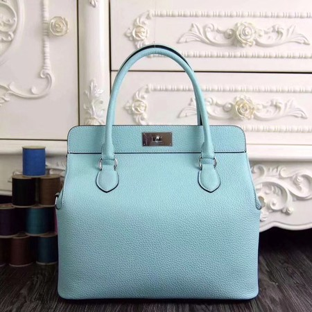 Hermes original leather toolbox handbag 3069 sky blue