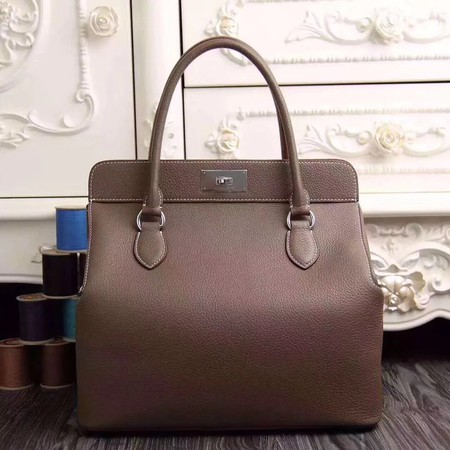 Hermes original leather toolbox handbag 3069 gray