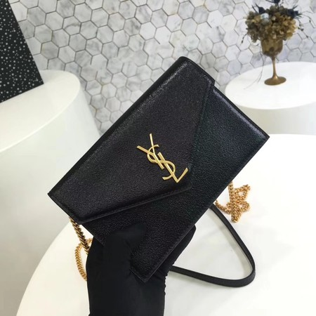 ysl small kate satchel original Calf leather 2822 black Gold chain