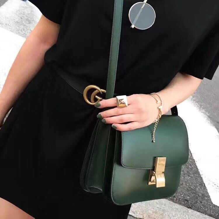 Celine Classic Box Flap Bag Calfskin Leather 2263 Green