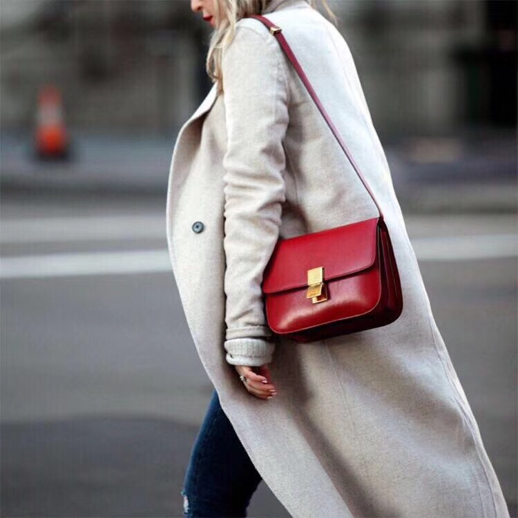 Celine Classic Box Flap Bag Calfskin Leather 2263 Red