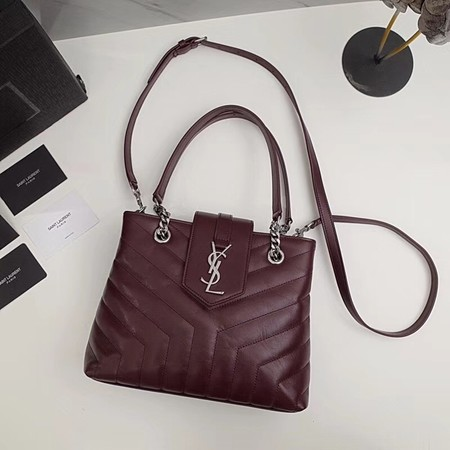 Yves saint Laurent Original loulou Calf leather Shoulder Bag 502717 wine
