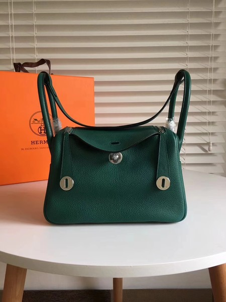 Hermes Lindy togo Original Leather Shoulder Bag 5086 Green