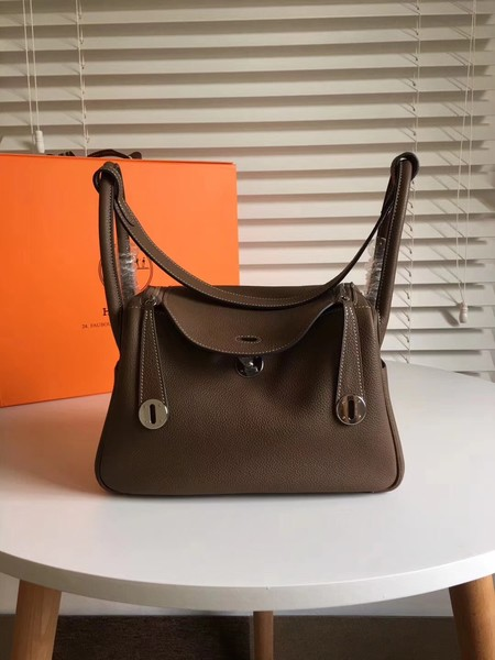 Hermes Lindy togo Original Leather Shoulder Bag 5086 dark grey