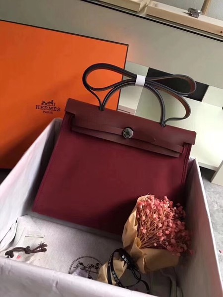 Hermes original canvas&calfskin leather herbag H45987 wine