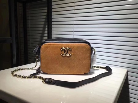 Chanel Calf leather Shoulder Bag 56987 Apricot with blue