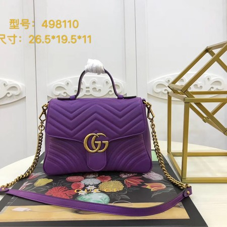 Gucci GG Marmont original clafskin small top handle bag 498110 Purple