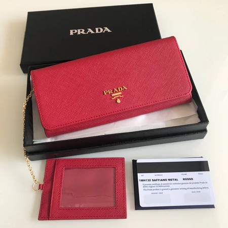 Prada original Cattle leather Wallet 1MH132 red