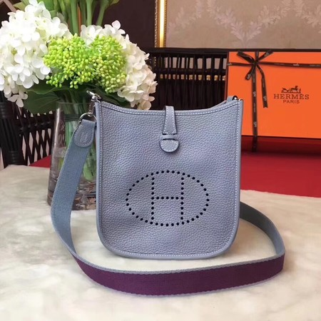 Hermes Evelyne original togo leather mini Shoulder Bag H1187 Sky blue