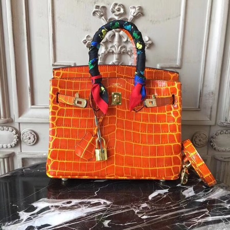 Hermes Upgraded version Birkin BK25 Tote Bag Croco Leather H8096 orange
