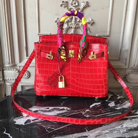 Hermes Upgraded version Birkin BK25 Tote Bag Croco Leather H8096 red