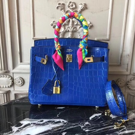 Hermes Upgraded version Birkin BK25 Tote Bag Croco Leather H8096 blue
