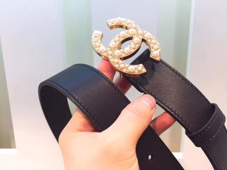 Chanel Original Calf leather Belt Wide 3.5CM 2286 black