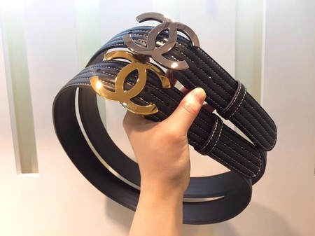 Chanel Original Calf leather Belt Wide 4.0CM 2300 black