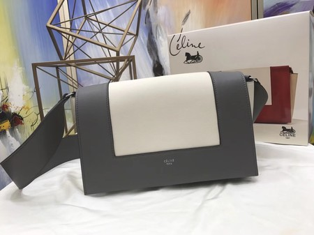 Celine frame Bag Original Calf Leather 5756 White. grey