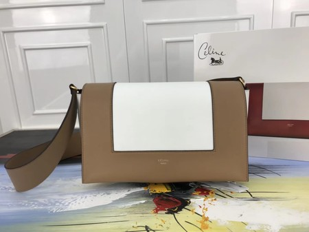 Celine frame Bag Original Calf Leather 5756 White. apricot