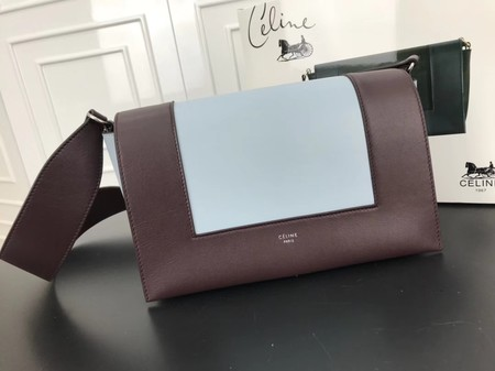 Celine frame Bag Original Calf Leather 5756 Wine.light blue