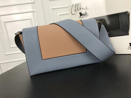 Celine frame Bag Original Calf Leather 5756 Light blue .apricot