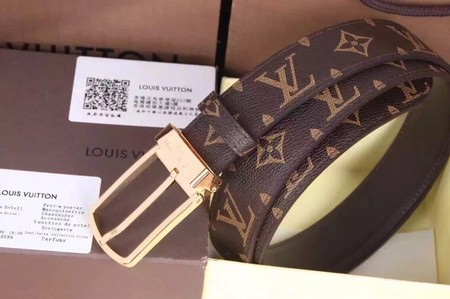 Louis Vuitton Calf leather Belt wide 3.5CM 2282 brown