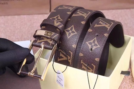 Louis Vuitton Monogram Canvas Calf leather Belt wide 3.5CM 2275 brown