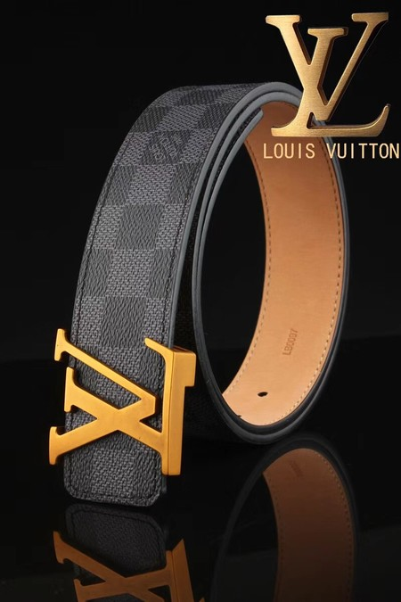 Louis Vuitton Calf leather Belt wide 3.8CM 2269 black
