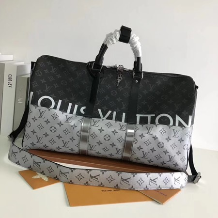 Louis Vuitton Monogram Canvas Keepall 50CM with Shoulder Strap 43817 silver.black